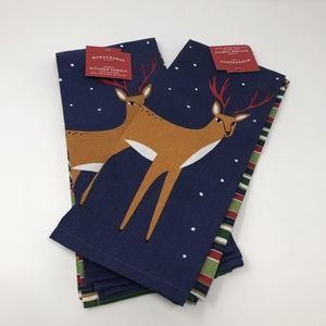 Holiday Reindeer Kitchen Towels 2pk Set/Lot of 2